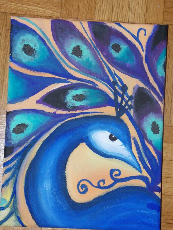 Peacock canvas painting by TheGoddessLight on Etsy, €20.00