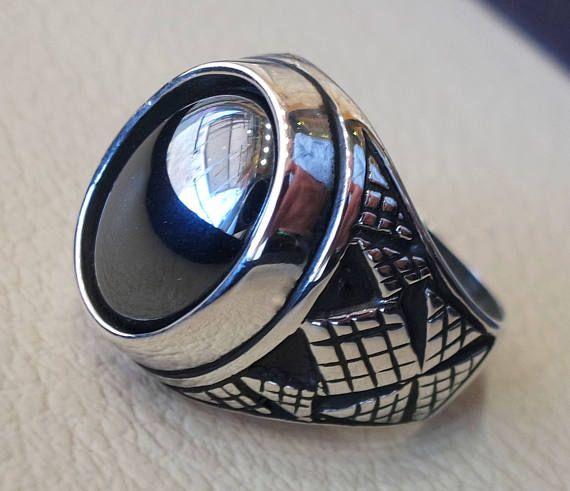 sterling silver 925 heavy man ring hematite natural semi