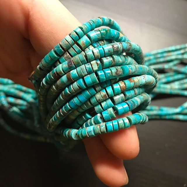 Gorgeous genuine Nacozari turquoise, in the famous southwestern heishi shape which takes more effort to make than other shapes in bigger sizes. These heishi beads measure 4mm wide, 2mm thick and about 55 carats per strand. Not all heishi strands are created equal; most heishi have free-form edges. These pieces on the other hand have straight edges, so the pieces do NOT stack crooked. These are extremely sought after amongst southwestern jewelry designers.$17.50 per strand. Available at…