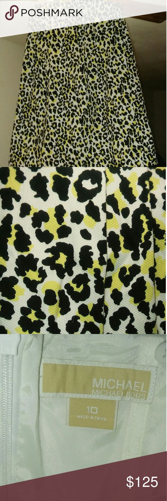 NWOT MK Strapless Cheetah Print Dress Animal print strapless Yellow/Black/White above the knee length dress!!! Never worn in Excellent Condition. Says size 10 but it's too big for me to wear. Runs larger like size 12-14. Micheal Kors Dresses Strapless