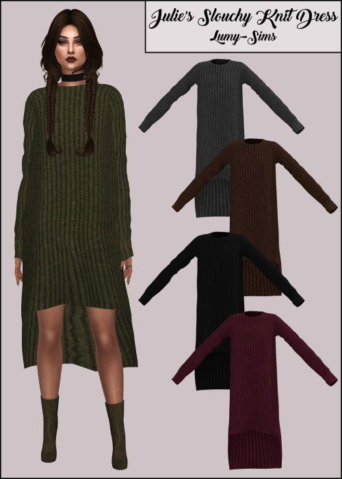 LumySims: Julie's Slouchy Knit Dress • Sims 4 Downloads