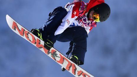 Britain's Jamie Nicholls qualifies for the final of the inaugural slopestyle snowboarding competition in the opening event of the Sochi 2014 Winter Olympics