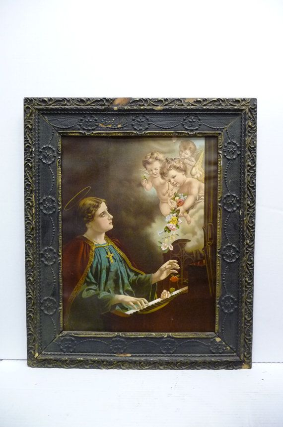 Antique Framed Religious Print Lithograph Saint Cecilia
