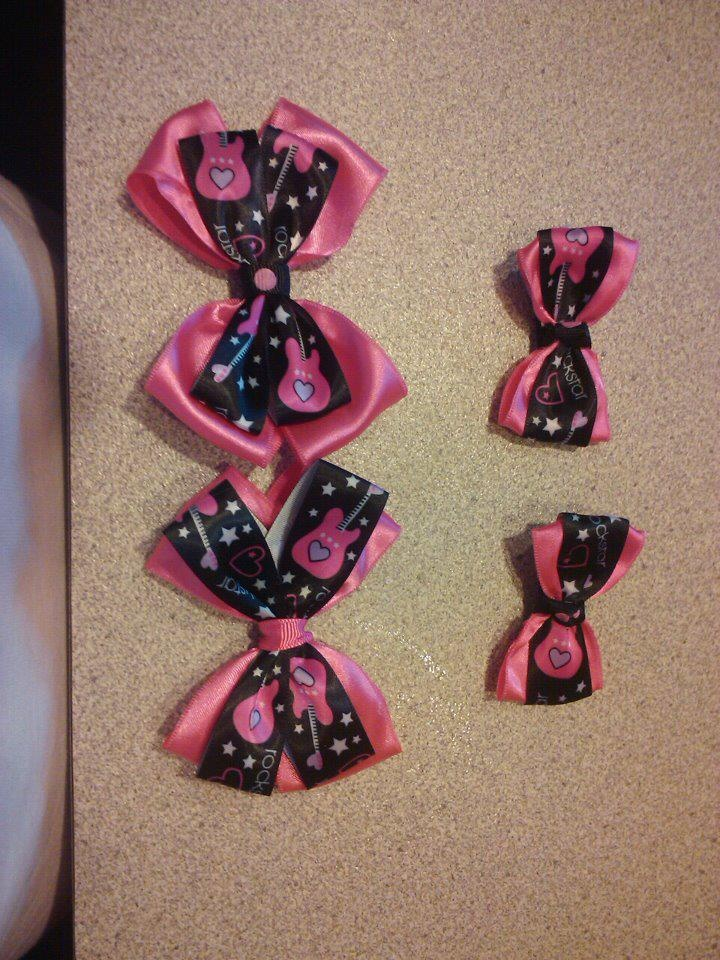 Pink and black rockstar hairbows....small $3 and medium $4  https://www.facebook.com/pages/Tutu-Cute/171729329580274