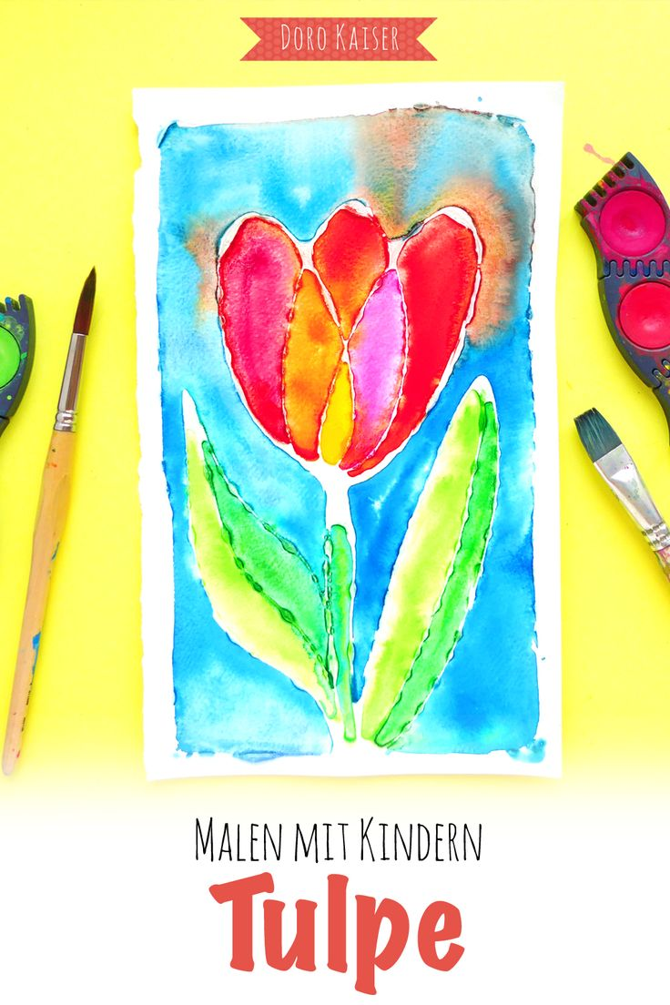 Malen mit Kindern: So malst du mit deinen Kindern ein buntes Frühlingsbild   Ein Leimbild mit Tulpe, gemalt mit Wasserfarben oder ein paar gemusterte Ostereier für Grußkarten