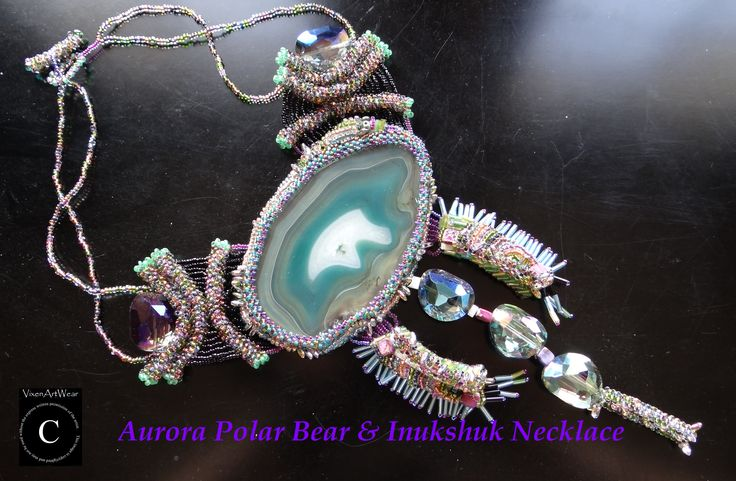#Aurora #Polar #Bear & #Inukshuk Necklace, #jewelry, #Canadian, #handcrafted, #beaded.
