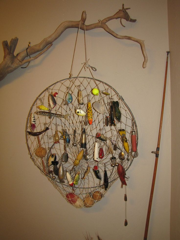 a great way to display those old fishing lures great for my fish bathroom