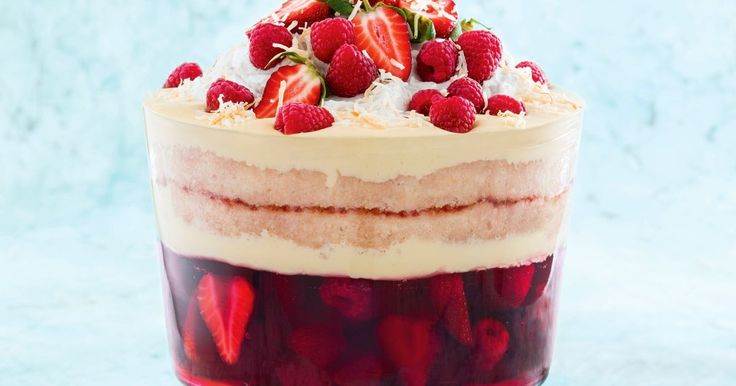 Nothing tops off a Christmas celebration like a luscious berry trifle. For a twist on the classic, we've used coconut cream for the custard and topping. Start this recipe 2 days ahead.