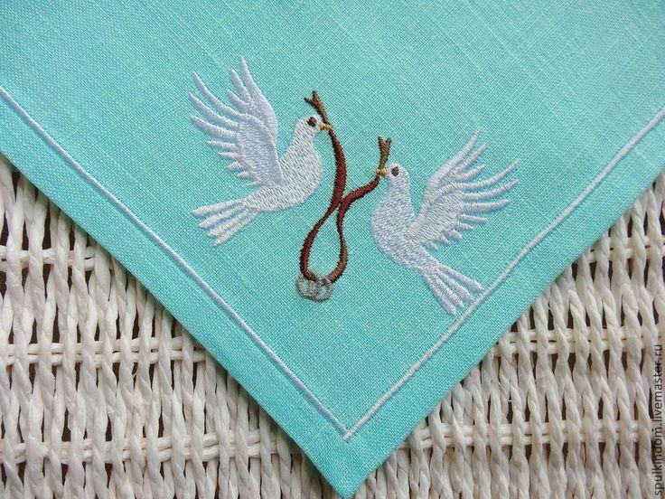 """Купить Свадебные Салфетки с Вышивкой в стиле Тиффани """"Голуби"""" - бирюзовый, салфетки с вышивкой, вышивка на заказ"""