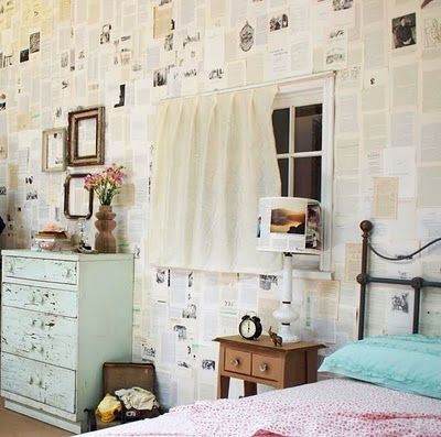 Any room can become a reading room with an application of book pages as wallpaper. Old books found at thrift stores or photocopy favorites.