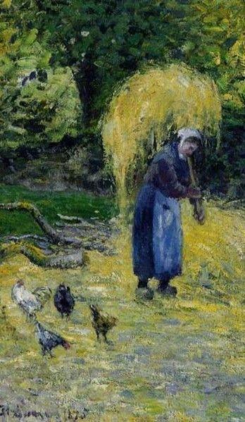 """Camille Pissarro (1830-1903) ~ """"Montfoucault, Paysannes portant de la Paille"""", 1875 (Détail) ~ Huile sur Toile ~ Collection Privée"""