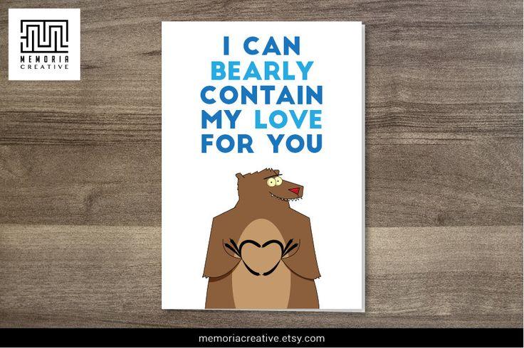 #bear #funnycard #cutecard #card #iloveyou #iloveyoucard #heart  https://www.etsy.com/au/listing/226759582/bearly-contain-my-love-i-love-you-card?ref=shop_home_active_10