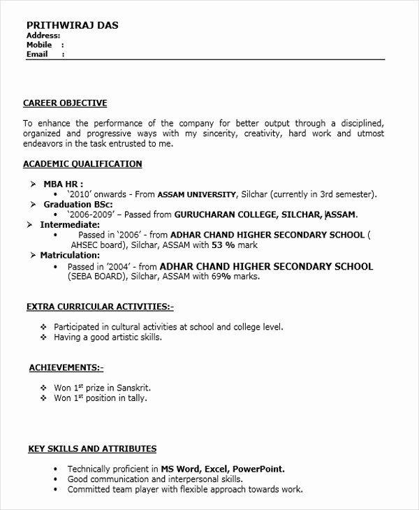 Objective for Resume for Freshers New 45 Fresher Resume ...