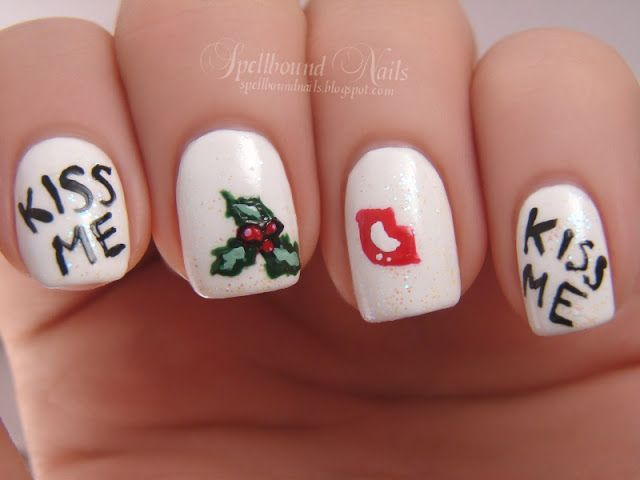 18 best xmas mistletoe images on pinterest xmas nail xmas nail art mistletoe prinsesfo Image collections