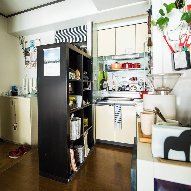 Ikeaの棚 Diyで自分らしく 雑貨や料理本もならぶ 食器棚 の作りかた キッチン間取り 小さなアパートのキッチン 賃貸 インテリア
