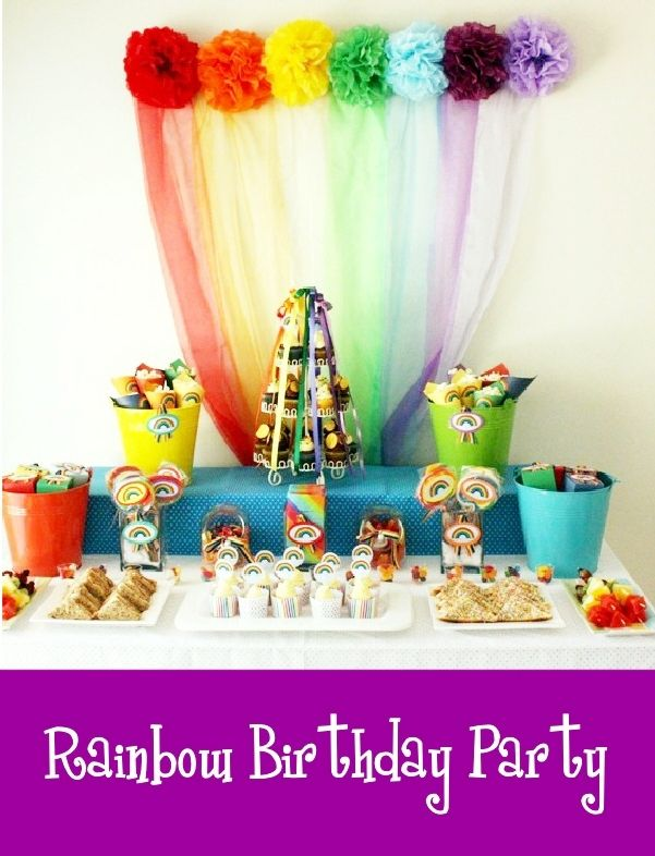 rainbow tissue poms and tulle