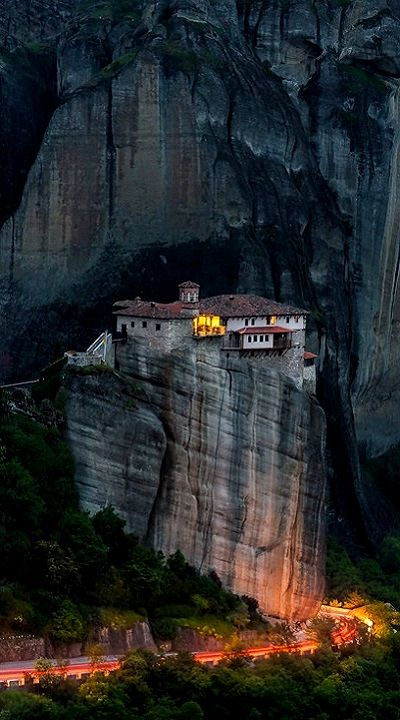 Almost night over Holy Monastery of Roussanou at Meteora, Greece. (by ilias nikoloulis on 500px)