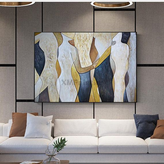 Gold Art Landscape Abstract Paintings On Canvas Wall Art Etsy