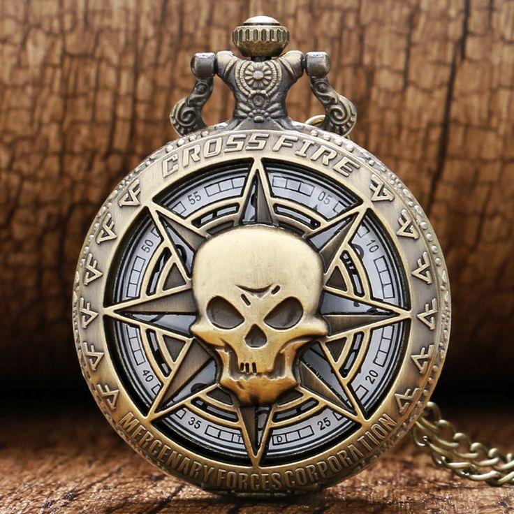 """Лучший продукт из Китая - купить """"полые винтажный Бронза череп Призрак перекрестный огонь Кварцевые карманные часы ожерелье мужские P314C"""" только 3.47 долл."""
