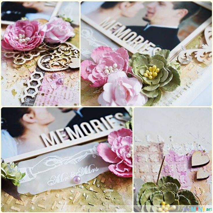 #theMiNiart #chipboard #memories #wedding Details of the wedding picture with the MiNi art embellishments.