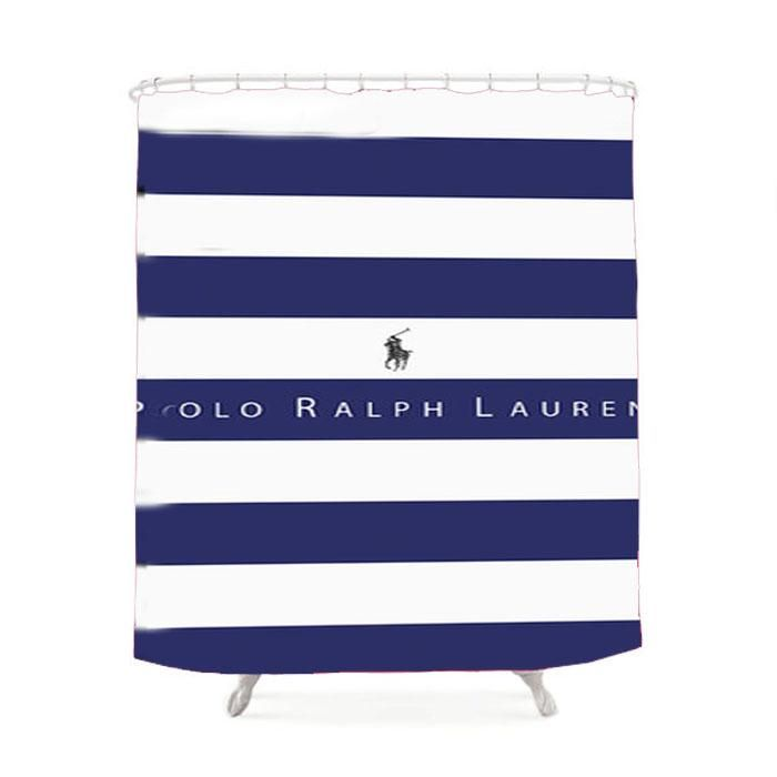 Polo Ralph Lauren Blue White Stripes Shower Curtain Striped