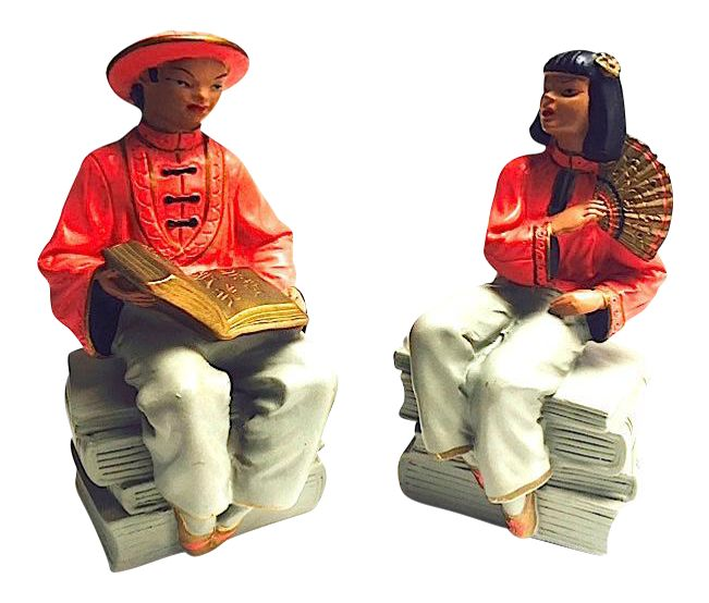 Mid-Century Asian Figurative Bookends - A Pair on Chairish.com - SOLD