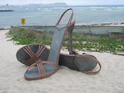 Believe it or not, these shoes are a giant sculpture exhibited last week by Australian artist Gregory Roy Cope as part of the Swell Sculpture Festival at Currumbin Beach on the southern Gold Coast, Queensland.