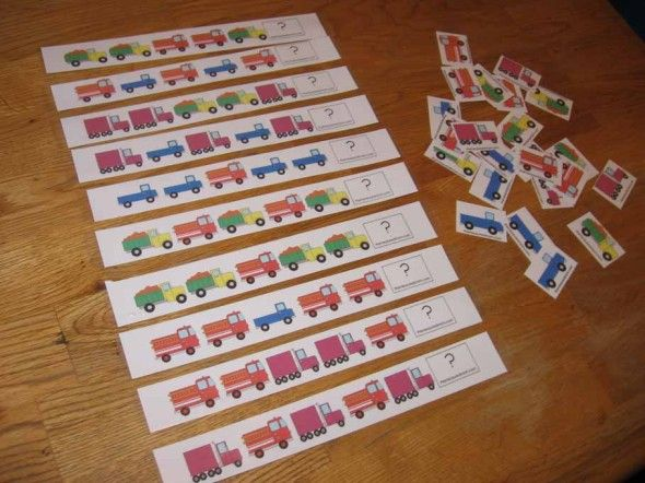 truck pattern strips pic the measured mom101 590x442 Printable pattern cards for preschool and kindergarten: Trucks!