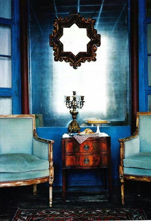 Turquoise And Cobalt Blue Interior   Gold Highlights  Vintage Interior Decor
