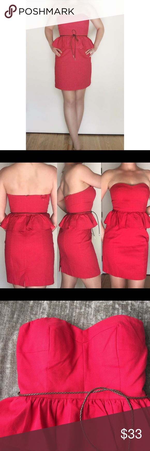 Anthropologie Aryn K. Red peplum dress belted Sz S Aryn K. For Anthropologie red peplum mini dress includes brown weave leather belt that ties as a knot or bow. Darling red dress. Flattering. Nice thick linen type material. Cherry celandine red. Peplum creates illusion of tiny waist and also makes the bootie pop! Size small. Will add measurements asap I'm 5'6 34-26-35 memodeling. Anthropologie brand. Charming but sexy. Anthropologie Dresses Mini