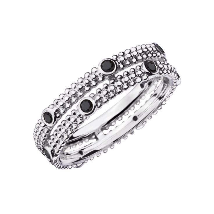 Bague Le Premier Jour DEMON, or blanc, diamants noirs - Mauboussin