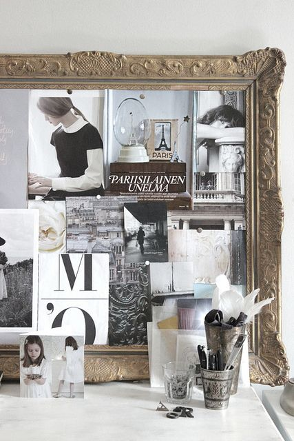 Antique frame repurposed as a pin board
