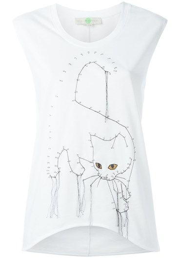 stella mc cartney embroidered cat tank top White