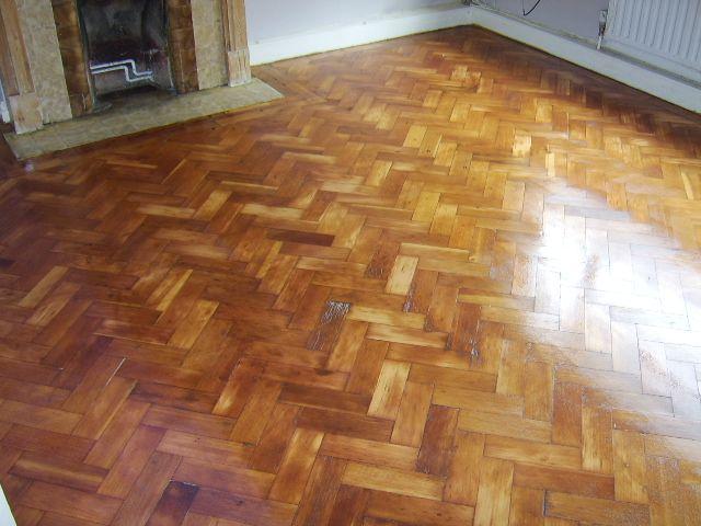Parquet Floor After Restoration Sanding Staining With Walnut