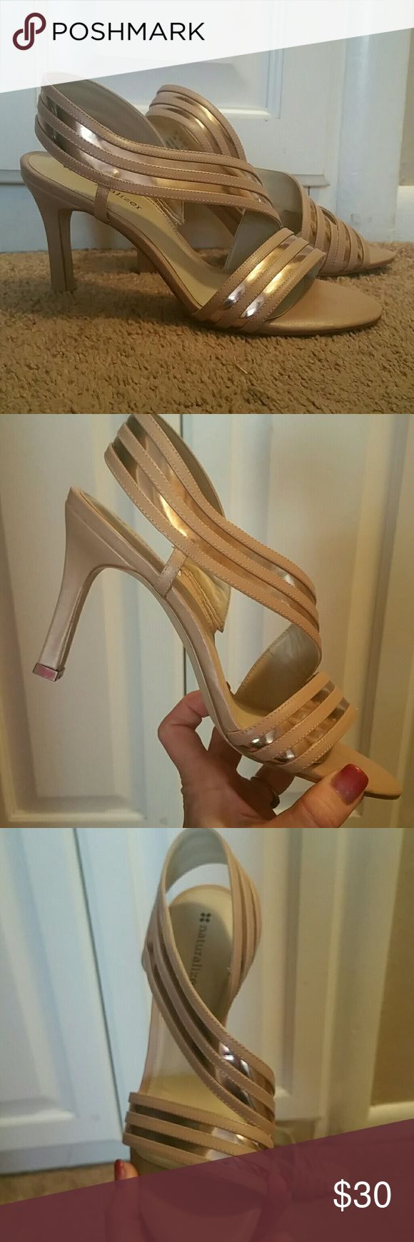 Nude and metallic strappy high heels New without tags, elegant and sexy. The nude/taupe with metallic color is so versatile, and they are so comfortable, that these heels are actually practical! Naturalizer Shoes Heels