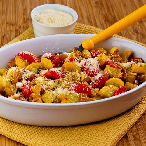 Val's Easy and Amazing Yellow Squash with Tomatoes and Parmesan from Kalyn's Kitchen (This really was amazing!)