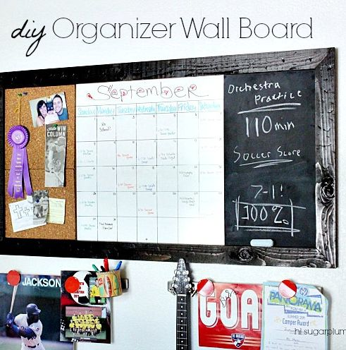 Hi Sugarplum | Pottery Barn Teen inspired Wall Study Board -- oversized dry-erase calendar, chalkboard and corkboard