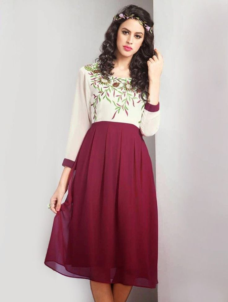 Be an absolute royalty of splendor in this beautiful voilet and cream party wear designer kurti. Shop on #lookbuylike