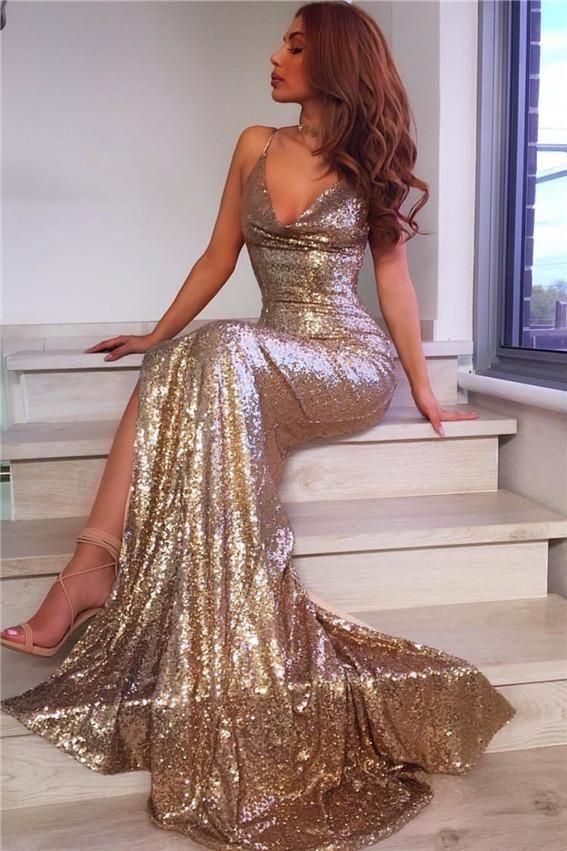 V Neck Mermaid Gowns,Long Sequins Prom Dress,Glitter Bridesmaid dresses