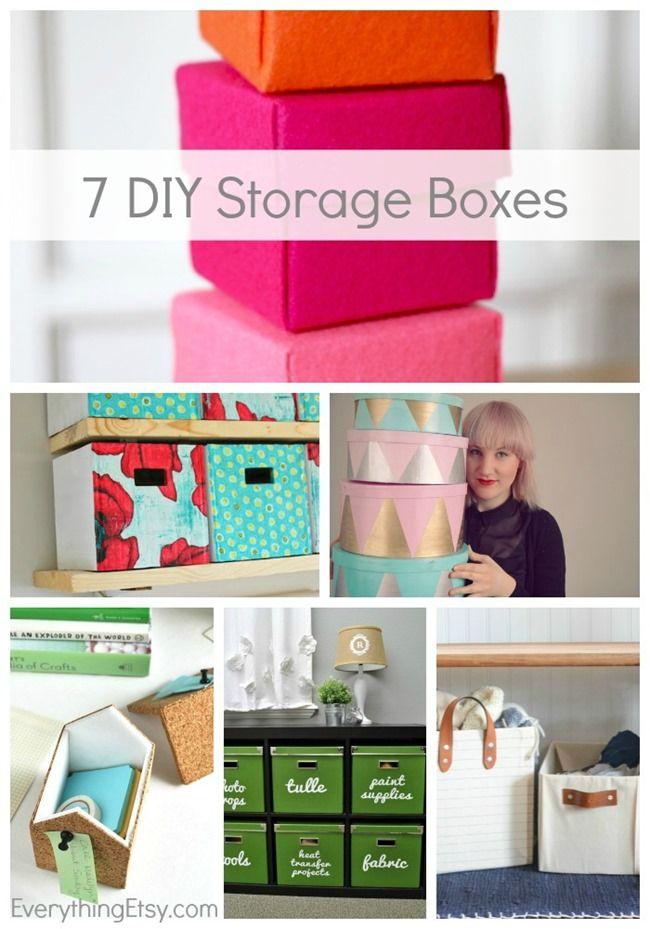 7 DIY Storage Boxes {Get Organized!} - An easy, beautiful way to organize! EverythingEtsy.com #diy #organize #storage