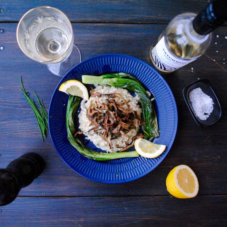 Vegansk svamp- och citronrisotto med vårlök | Jävligt gott - en blogg om vegetarisk mat och vegetariska recept för alla, lagad enkelt och jävligt gott.