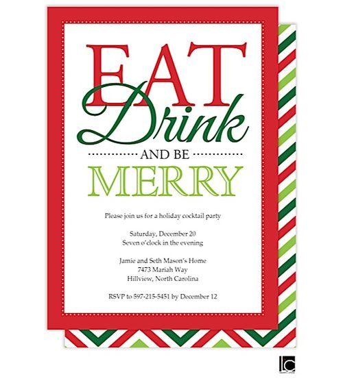 36 best invites images on pinterest christmas parties christmas christmas cocktail party invitations eat drink and be merry stopboris Gallery
