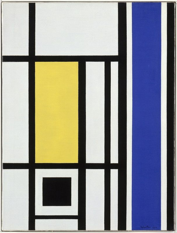 Marlow Moss, White, Black, Yellow and Blue, 1954. Private Collection. © Offer Waterman and Co, London