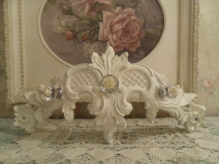 ~VINTAGE SHABBY  SYROCO  WALL  BED CROWN! SHABBY COTTAGE CHIC  GLASS~ROSES  #SYROCOHOMCO #Cottage