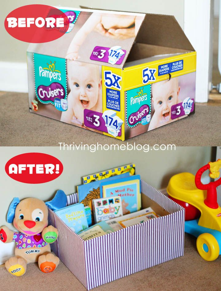 Decorated Diaper Box- I've done this so many times! I even went as far as covering them in clear packing tape so they were water proof.