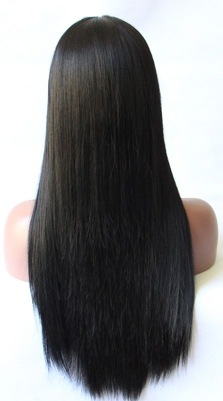 Glueless Silk Base Straight Natural Black Long Synthetic Lace Front Wig  #LaceWig #Wig