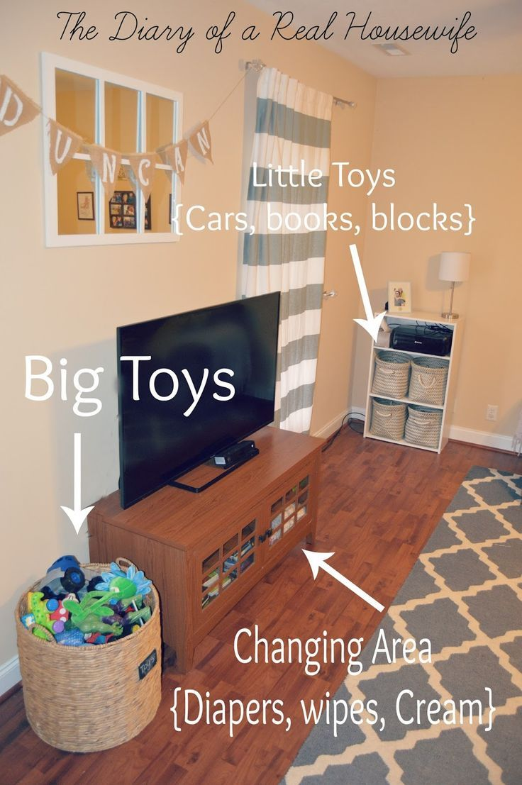 How I organize the toys in my living room. Easy way to keep it all clean and put away! Sharing all my tips and tricks on how I get my kids toys under control and organized! - The Diary of a Real Housewife