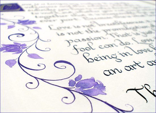 Calligraphy poem with lilac rose border design borders