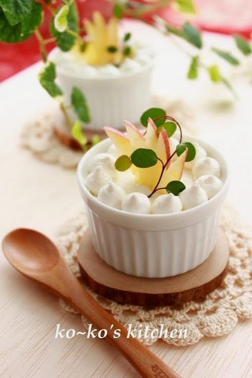 """Crunchy Apple Mousse! """"This is an extravagant mousse with pureed apple compote.  ~ Diced apple in the mousse makes this dessert more delicious. Recipe by ko-ko""""  @allthecooks #recipe"""