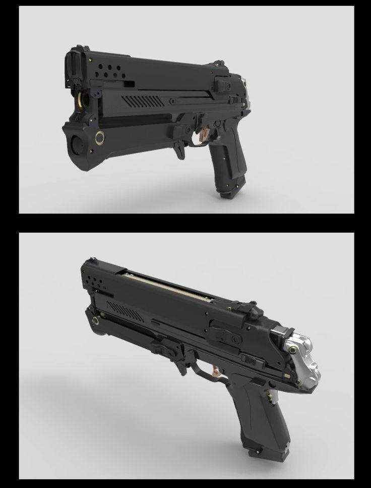 Inflitrator Pistol, James Hawkins on ArtStation at https://www.artstation.com/artwork/inflitrator-pistol